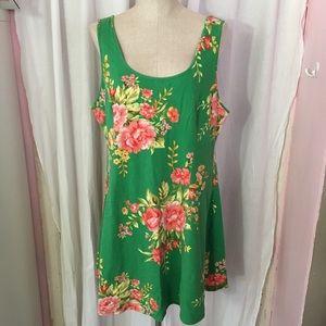 Forever 21 Green Floral Dress
